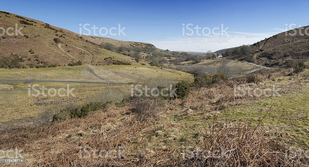 Panoramic view of Welsh moorland countryside royalty-free stock photo