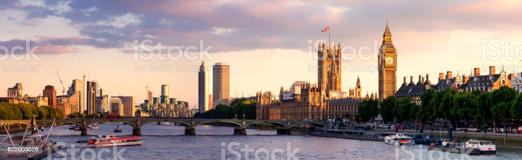 Panoramic view of Westminster Bridge and Westminster Palace with Big Ben at sunset stock photo