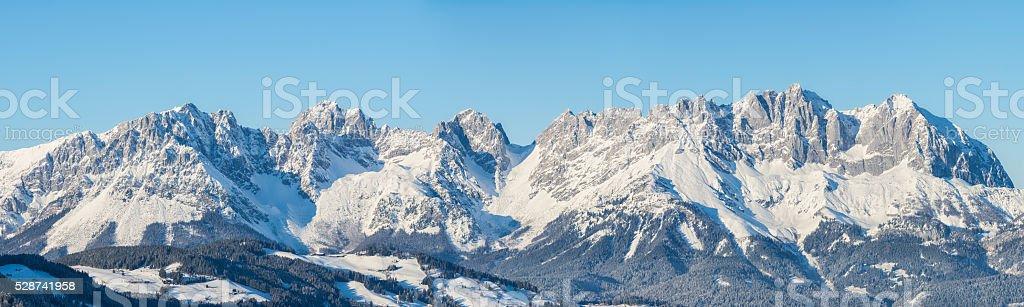 panoramic view of Wilderkaiser Spitze, Kitzbuhel, Austria stock photo