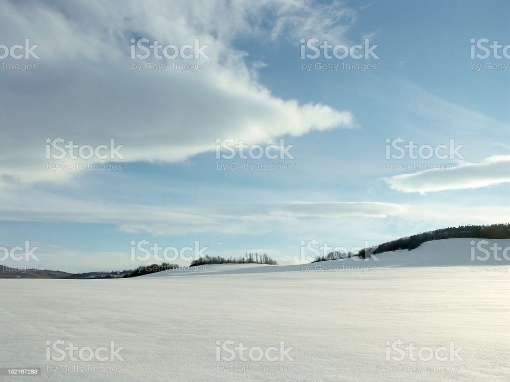 Panoramic view of winter scene of untouched snow stock photo