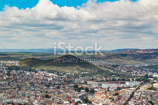 Panoramic view of Zacatecas, a UNESCO World Heritage with wind turbines