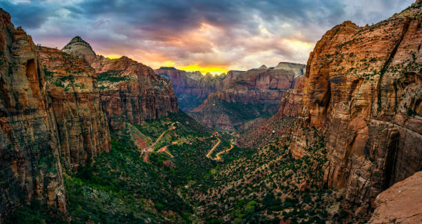 panoramic view of zion national park from Canyon overlook trail panoramic view of zion national park from Canyon overlook trail at sunset. Utah. USA zion national park stock pictures, royalty-free photos & images