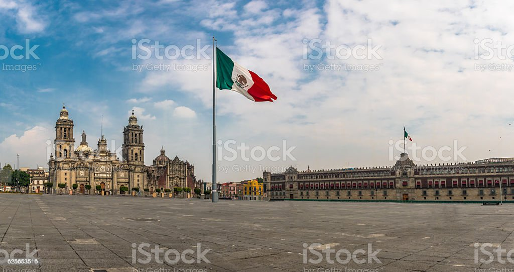 Panoramic view of Zocalo and Cathedral - Mexico City, Mexico stock photo