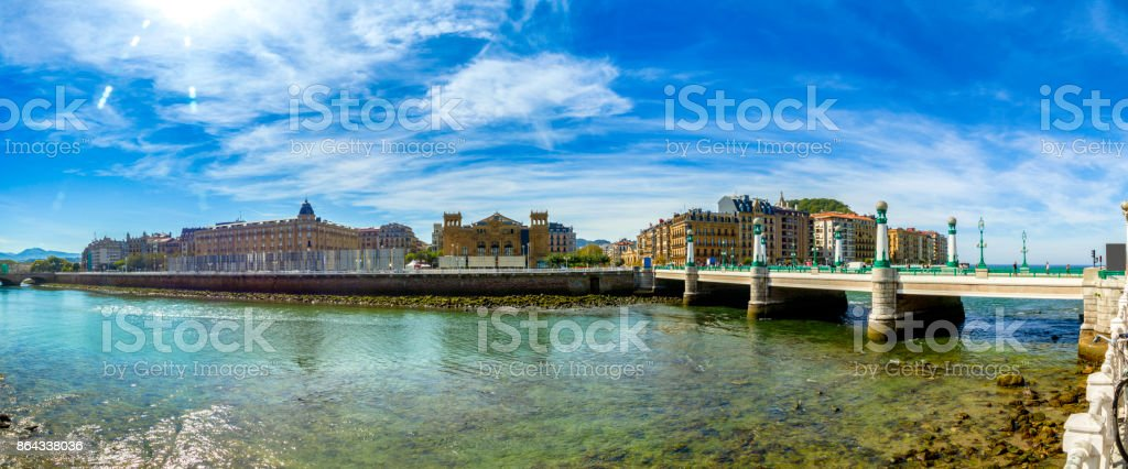 Panoramic view of Zurriola Bridge and San Sebastian, Donostia. Spain stock photo