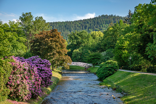 Panoramic view on Baden Baden city river,canal  and mountains  Baden Wuerttemberg, Germany
