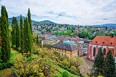 Panoramic view on Baden Baden in Baden-Wurttemberg in Germany. Baden Baden is a spa town.