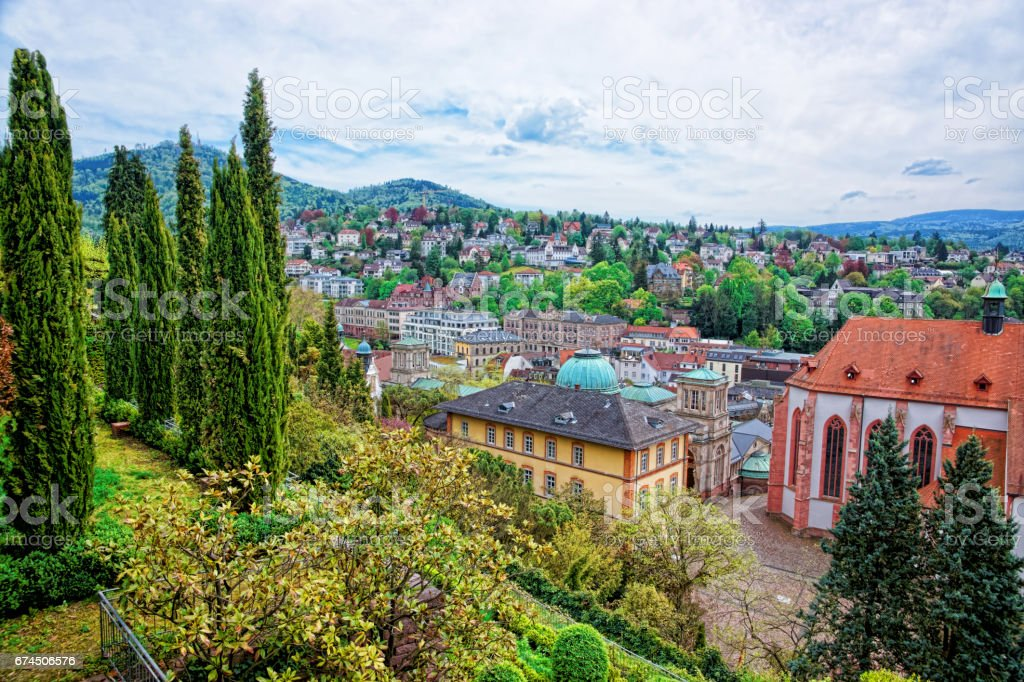 Panoramic view on Baden Baden in Germany stock photo
