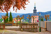 Panoramic view on Baden-Baden church and the city. Baden-Baden is a spa town. It is situated in Baden-Wurttemberg in Germany. Its church is called Stiftskirche.