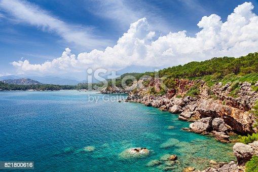 istock Panoramic view on bay of old greek town Phaselis. Coast near Kemer, Antalya, Turkey. 821800616