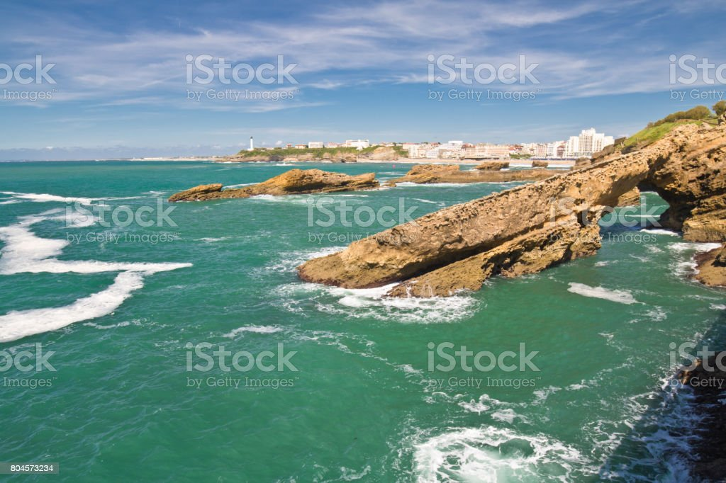 panoramic view on beautiful atlantic coastline wth turquoise green ocean with waves in basque country surf destination, biarritz, france stock photo