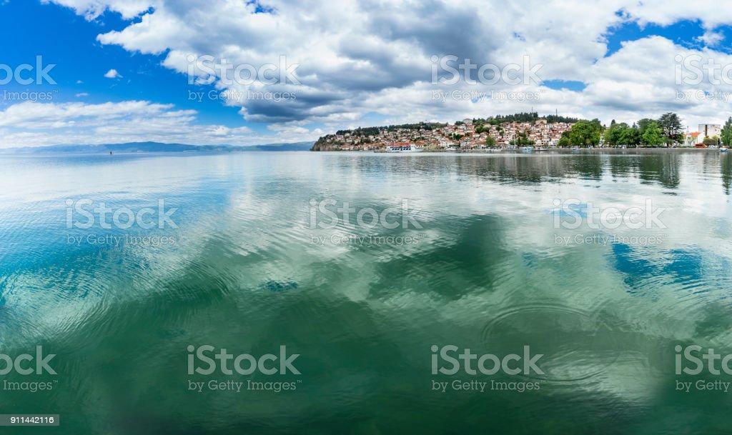 Panoramic view on city of Ohrid in Macedonia, lake copyspace stock photo