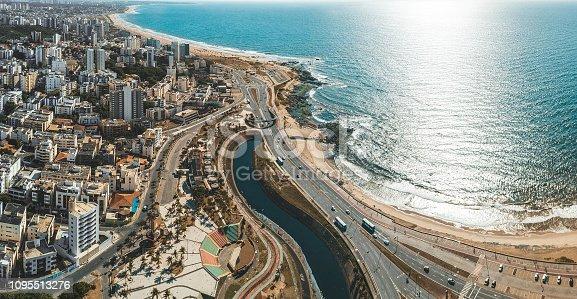 aerial view from bay on coastline and skyline of Salvador da Bahia