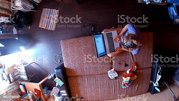 Panoramic view on contemporary freelancers living room picture id492576506?b=1&k=6&m=492576506&s=612x612&h=iadwz81lfwoeey0qh6uoglbaysioraaespzoz76asag=