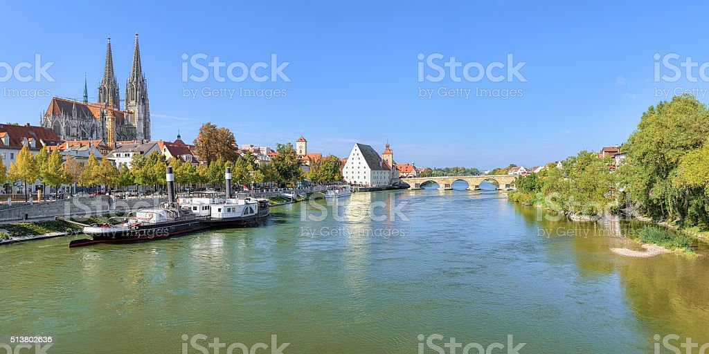 Panoramic view on Danube river with Regensburg Cathedral, Germany stock photo