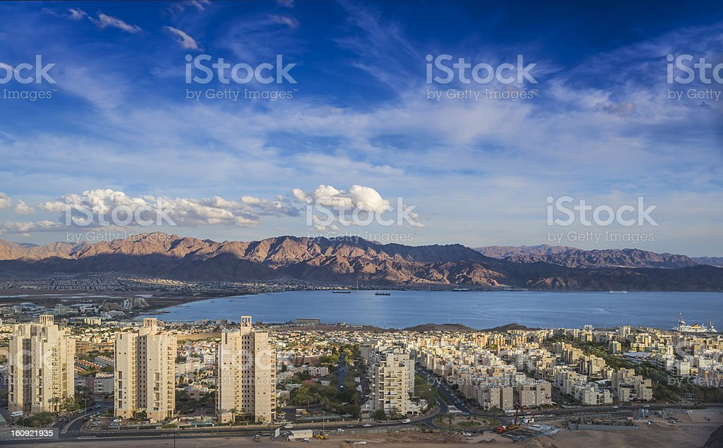 Panoramic view  on Eilat  and Aqaba royalty-free stock photo