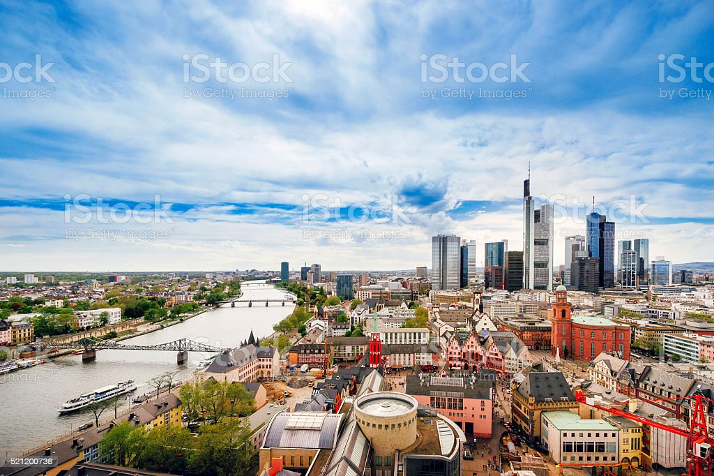 Panoramic view on Frankfurt skyline and Romerberg City Hall Square stock photo