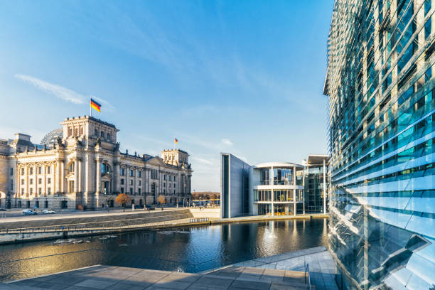 panoramic view on government district in Berlin stock photo