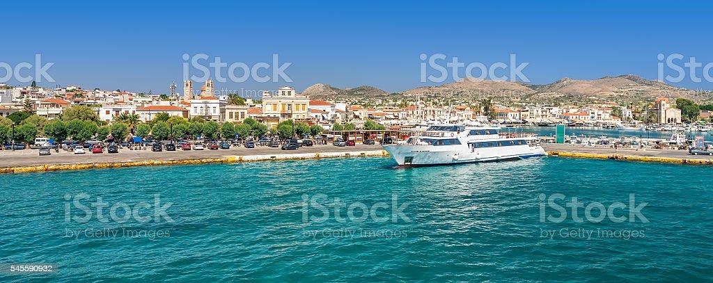 Panoramic view on greek island Aegina (Egina) at sunny day stock photo