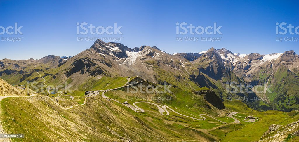 Panoramic view on Grossglockner High Alpine Road stock photo
