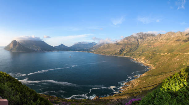 Panoramic view on Hout Bay from the scenic road of Chapman's Peak Drive stock photo