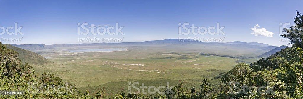 Panoramic view on huge Ngorongoro caldera (extinct volcano crater) stock photo