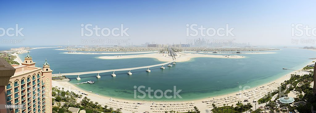 Panoramic view on Jumeirah Palm man-made island, Dubai, UAE stock photo