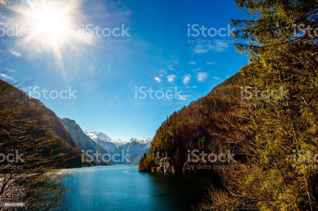 Panoramic View on Koenigsee by Ramsau in Bavaria stock photo