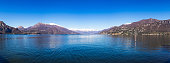 Panoramic view on Lake Como as seen from Bellagio pier, Lombardy, Italy