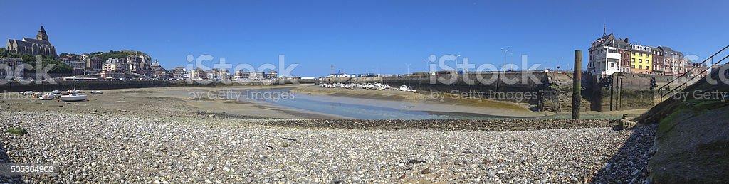 Panoramic view on le Treport harbor stock photo