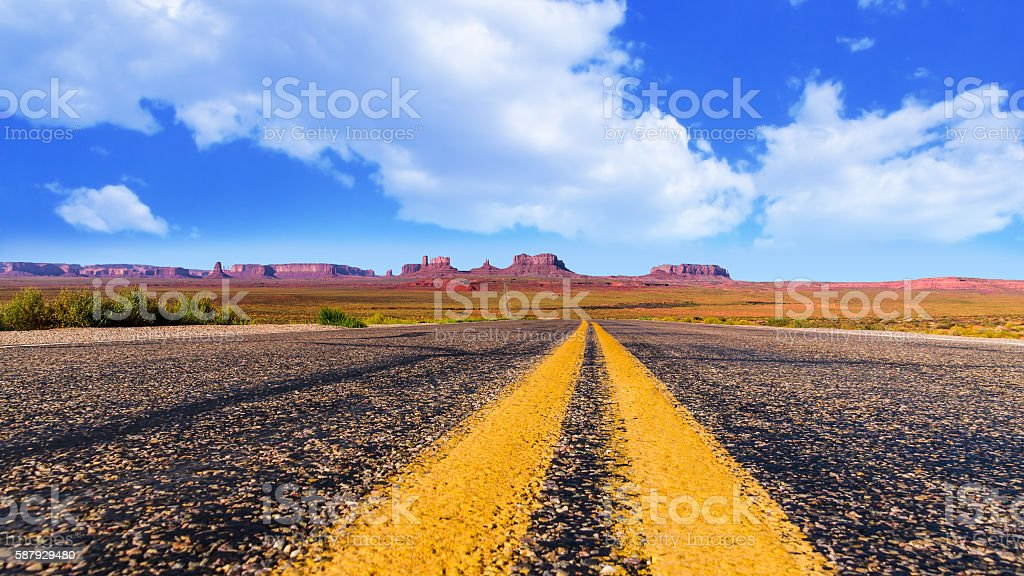 Panoramic view on monument valley in Arizona and Utah stock photo