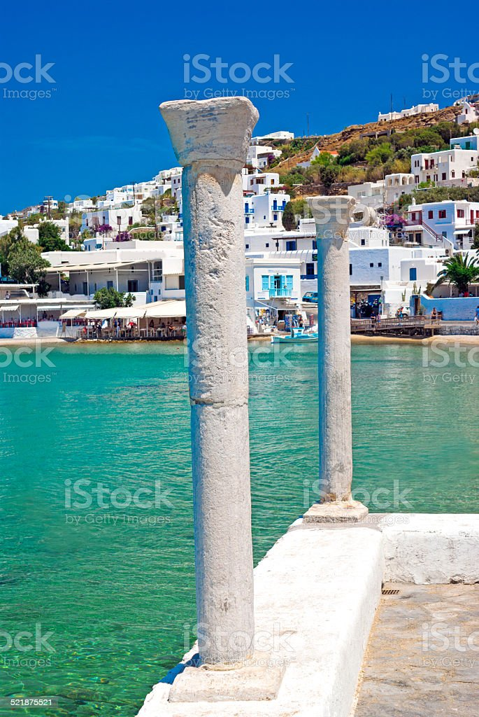 Panoramic view on Mykonos island, Greece stock photo
