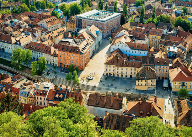 Panoramic view on New Square in historical center of Ljubljana Panoramic view on New Square in the historical center of Ljubljana, Slovenia ljubljana stock pictures, royalty-free photos & images