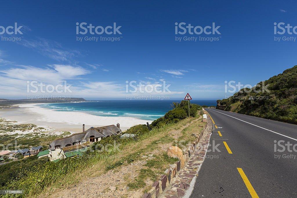 Panoramic view on Noordhoek beach from Chapman's Peak road stock photo