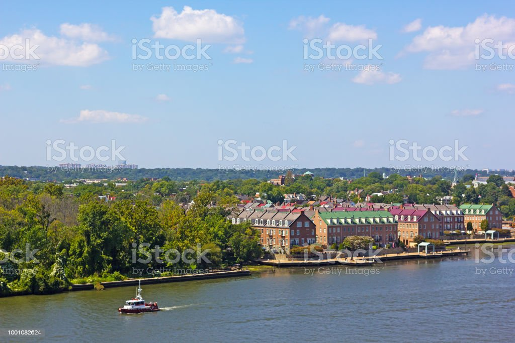 A panoramic view on Old Town Alexandria from the Potomac River in Virginia, USA. stock photo