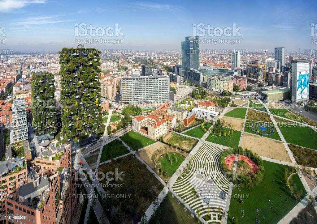 Panoramic view on Park Biblioteca degli Alberi by architect Petra Blaisse, Porta Nuova District, Milan - Стоковые фото Архитектура роялти-фри