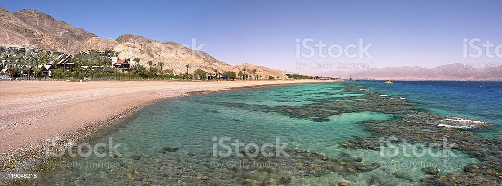 Panoramic view on Red Sea. stock photo