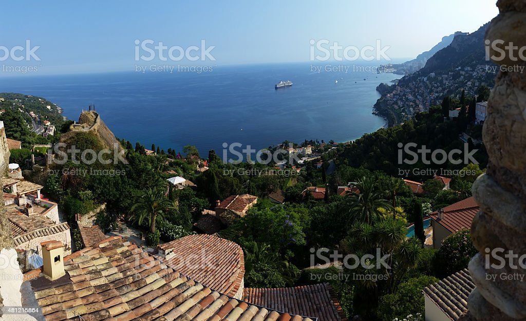 Panoramic view on Roquebrune Cap Martin, Azur coast, France stock photo