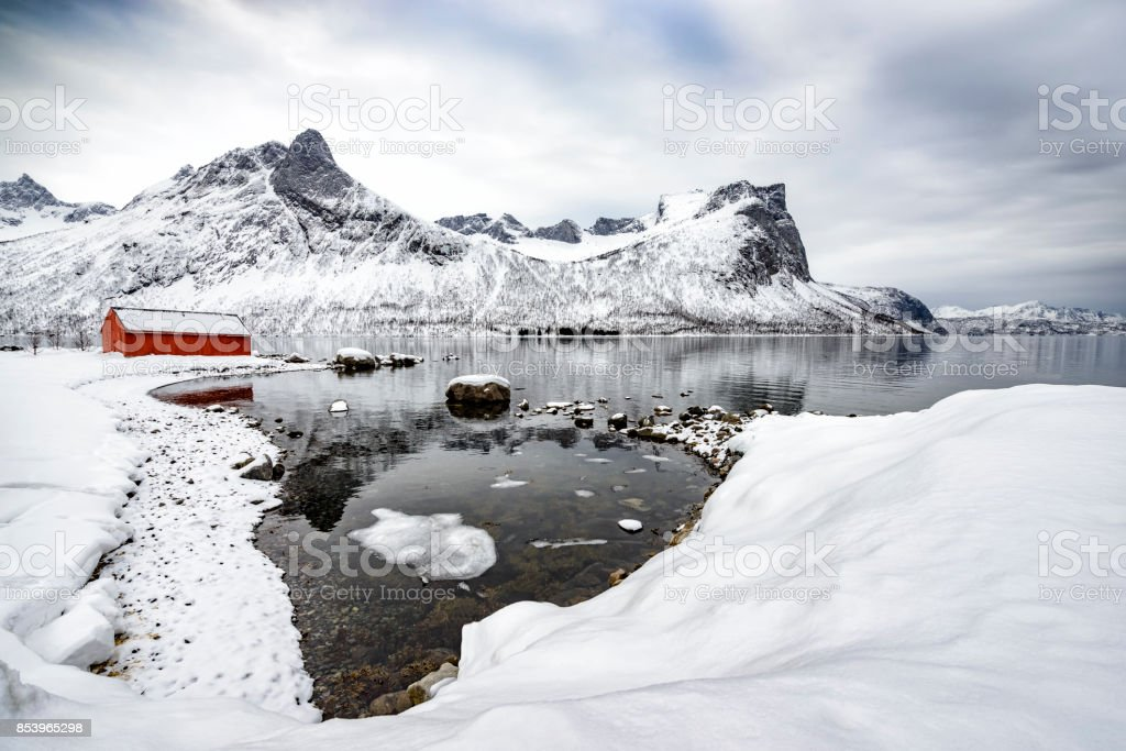 Panoramic view on Senja island in Northern Norway during winter stock photo