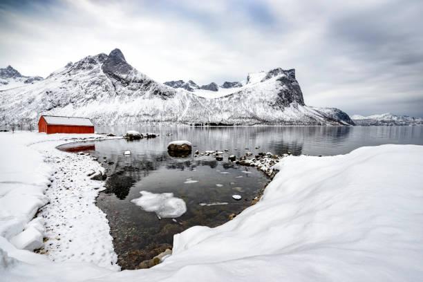 Vista panorâmica sobre a ilha de Senja, no norte da Noruega durante o inverno - foto de acervo