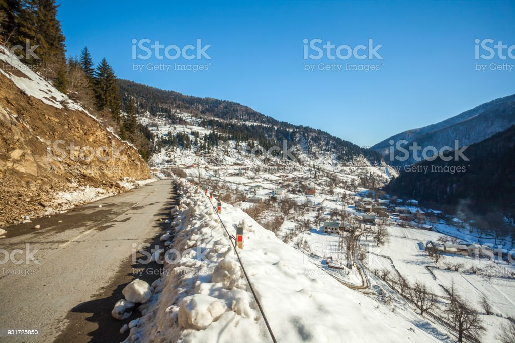 Panoramic view on snow winter mountains. Caucasus Mountains. Svaneti region of Georgia stock photo