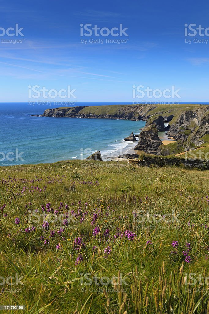 panoramic view on the Bedruthan Steps royalty-free stock photo
