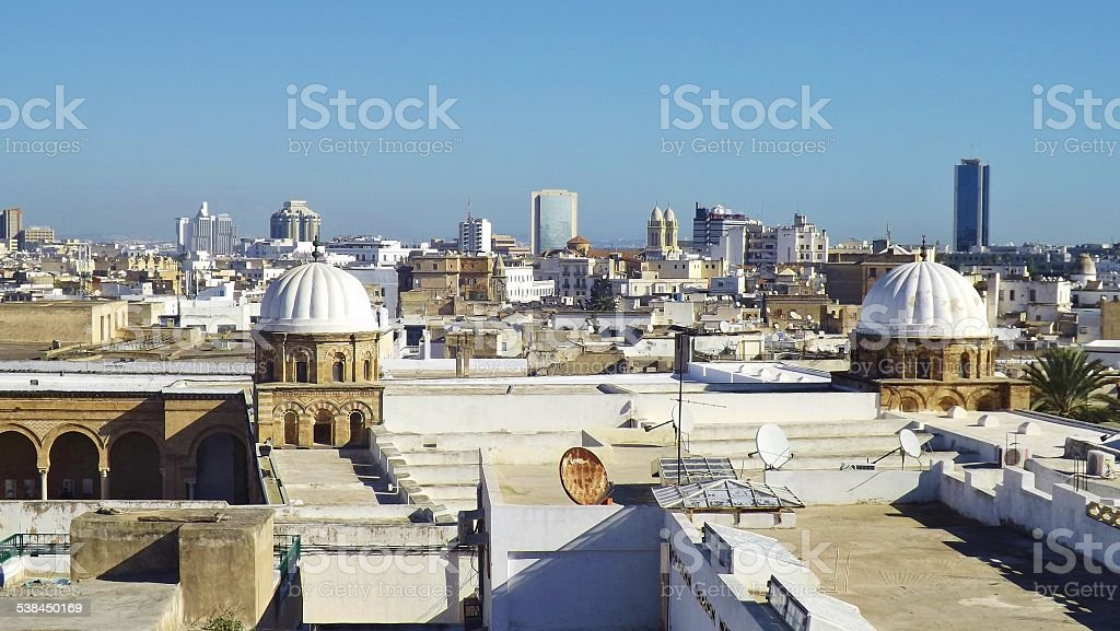 Panoramic view on the city of Tunis, Tunisia. stock photo