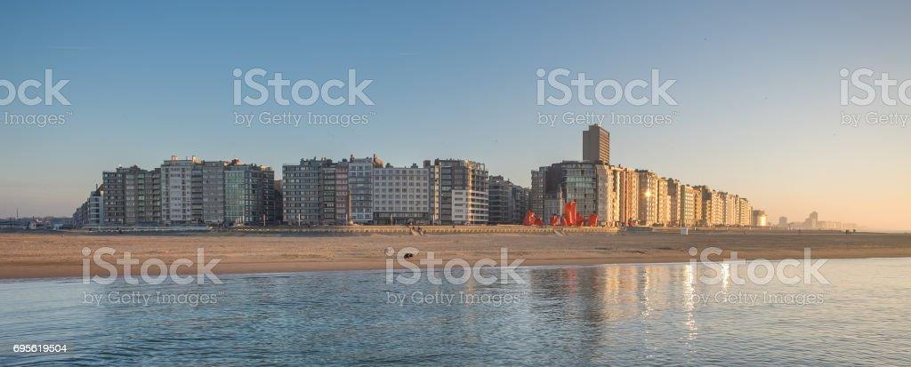 Panoramisch uitzicht op de skyline van Oostende foto