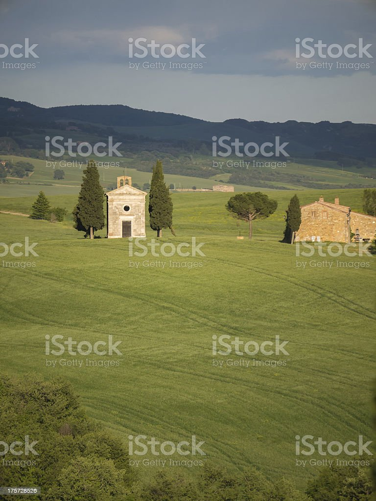 Panoramic view on the Val d'Orcia in Tuscany royalty-free stock photo