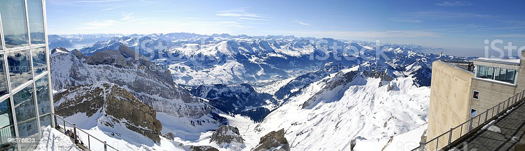 Panoramic view on top of mountain Säntis, Switzerland royalty-free stock photo