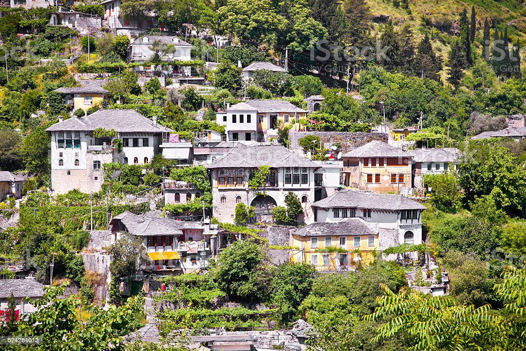 Panoramic view on Traditional house in Gjirokaster, Albania. stock photo