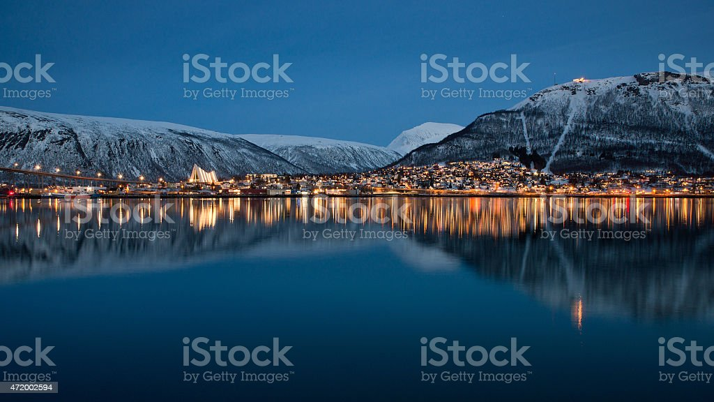 Panoramic view on Tromso, Norway stock photo