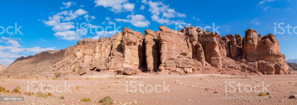 Panoramic view on unique stone formation - pillars of the Solomon King in Timna geological park stock photo