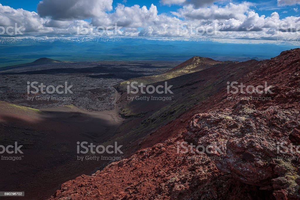 Panoramic view on wide lava fields from Tolbachik Volcano royaltyfri bildbanksbilder
