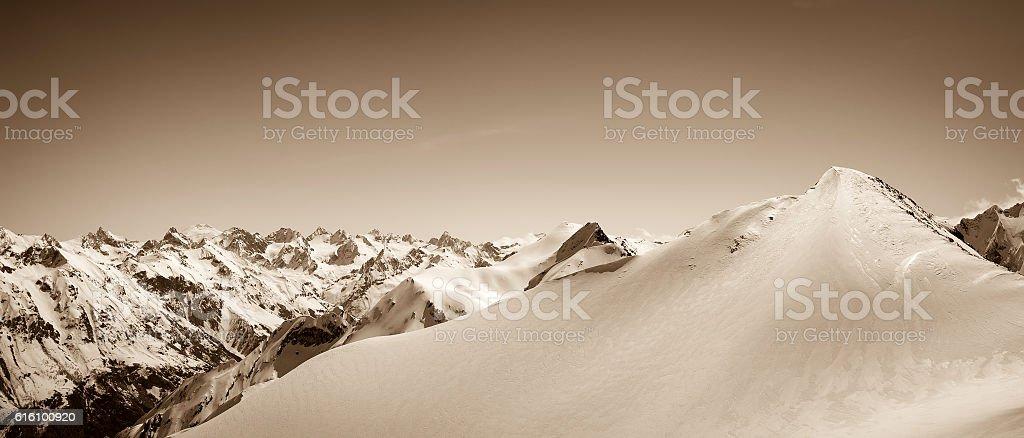 Panoramic view on winter snow mountain stock photo